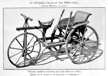 Tricycle tandem construit par Jules Boison (1860)
