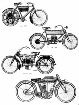 iconographie - Divers types de motocyclettes